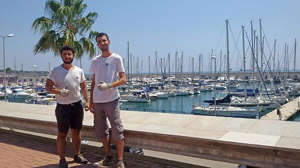 Onur Yılmaz ve Ahmet Aydınlık ise 488 adet bağlama kapasitesi ile göz dolduran İspanya Tarragona'daki Port Tarraco'da stajını gerçekleştiriyor