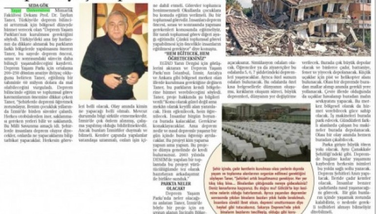 """Prof. Dr. Tayfun Taner; """"Deprem Yaşam Parkları Kurulmalı"""""""