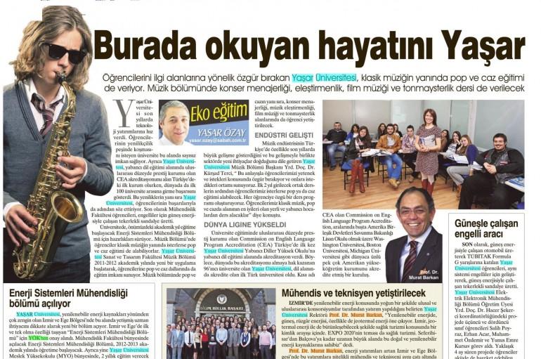 SABAH Gazetesi ulusal baskısında Yaşar Üniversitesi