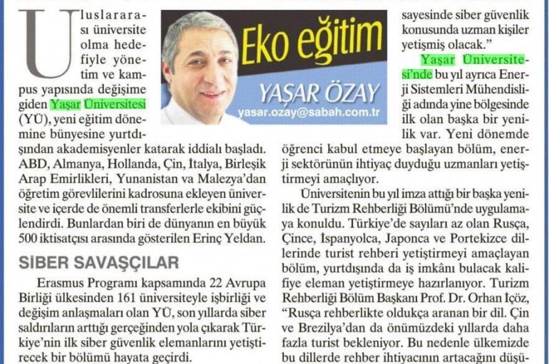 SABAH Gazetesi Türkiye baskısında Yaşar Üniversitesi