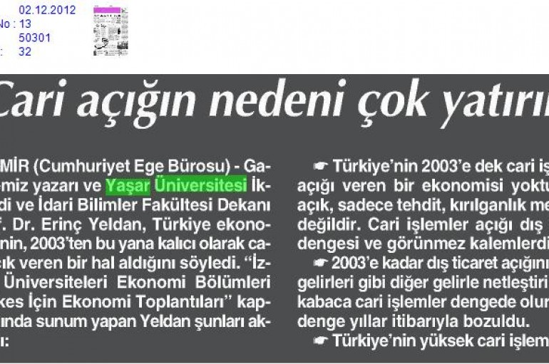 Cumhuriyet- Prof.Dr.Erinç Yeldan