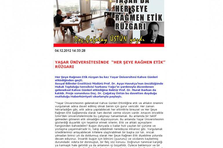 haberhürriyeti.com – Yaşar Üniversitesi'nde etik rüzgarı