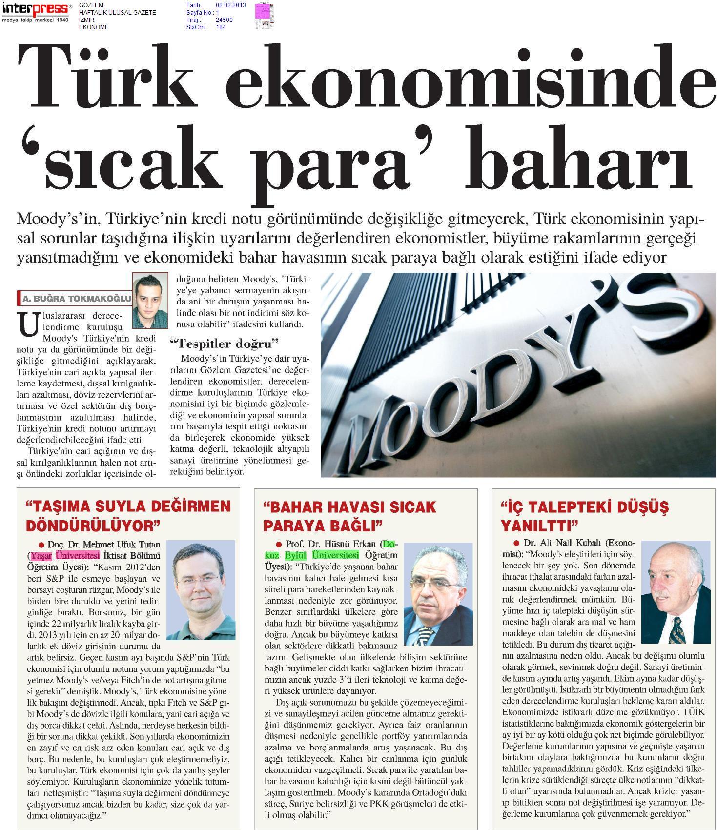 GÖZLEM Gazetesi- Türk ekonomisinde sıcak para baharı ...